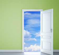 Open door with view of clouds