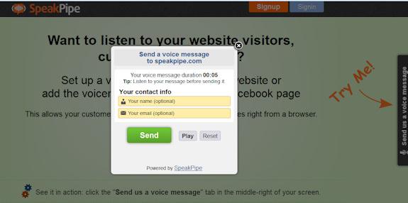 Screen capture of SpeakPipe