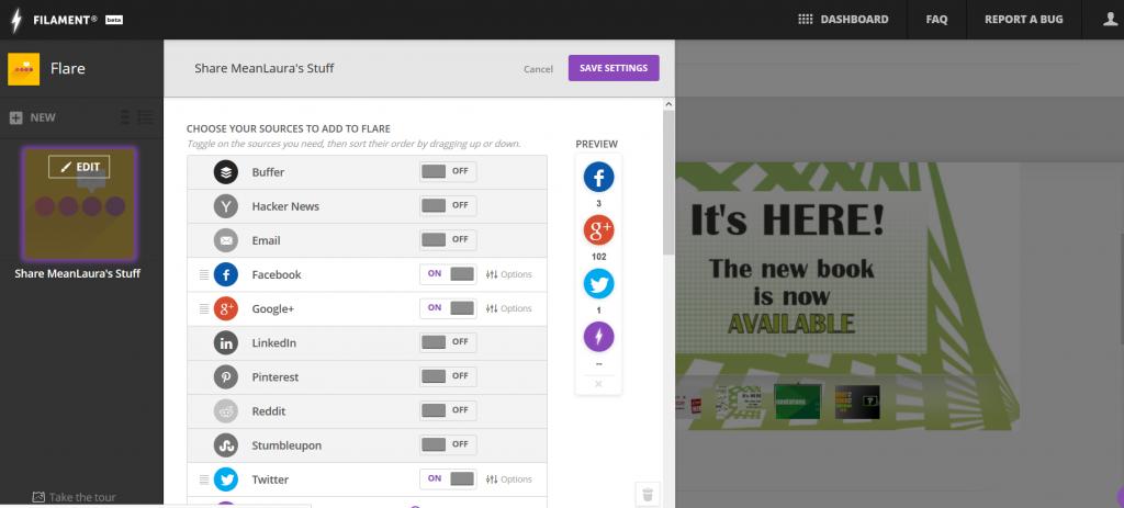 Screenshot from widget customization interface