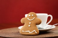 Gingerbread cookie with cup of coffee