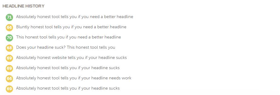 My headline testing history