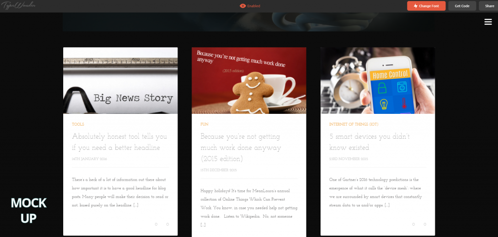 Screenshot of this website using TypeWonder
